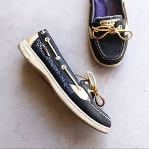 SPERRY Black & Gold Glitter Angelfish Boat Shoes
